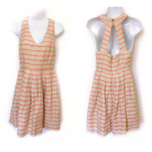 Banana Republic pink beige striped dress size 2